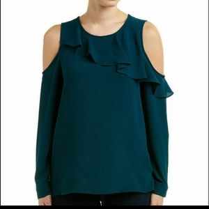 Vince Camuto Green Cold Shoulder Ruffle LS Blouse